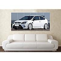 Grande Ford Focus RS bianco modificati poster da parete, con immagine artistica di auto sportive