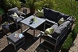 bomey Aluminium Eck-Lounge Set I Gartenmöbel Set Lyon 4-Teilig I Essgarnitur Alu mit Polstern I Sitzgruppe Silber + Tisch + Polster Grau I Dining Lounge für Terrasse + Wintergarten