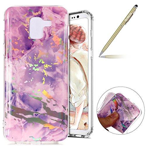Herbests Kompatibel mit Handy Hülle Galaxy A8 2018 Schutzhülle Silikon Handytasche Marmor Muster Glänzend Glitzer Kristall Luxus Bling Transparent Durchsichtige Tasche TPU Bumper Case,lila