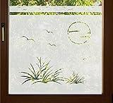 GD37 / 80cm hoch Sichtschutz Folie Bad Badezimmer Düne Fenster Sichtschutzfolie Fensterfolie Glasdekor Sichtschutzfolie Window blickdicht wasserfest selbstklebende Folie