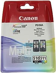 Canon PG-510+CL-511 Cartuchos de tinta BK+Tricolor para Impresora de Inyeccion de tinta Pixma MX320,330,340,35