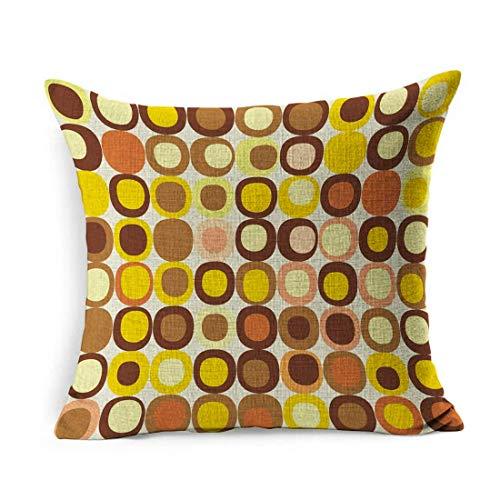 Funda de Almohada Square Brown Lounge Retro Pattern Modern Teal Chic Cool Funky Imagery Kitsch Design Funda de Almohada Decoración para el hogar Funda de cojín 18x18 Pulgadas