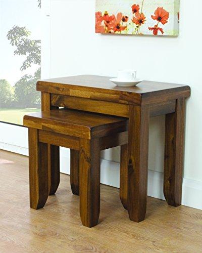 The One Lot de 2 Tables gigognes en Bois Massif d'Acacia – Salon