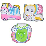 Baby Bucket Head Shaping Pillow Animal Shapes For New Borns 3 Pc Set. (Soft Poly Fibre Inner & Cotton Outer For Sleeping Support & Reshaping A Flat Head (Animal-2)