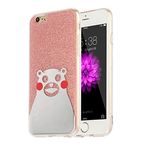 "MOONCASE iPhone 6 Plus Coque, Bling Glitter Motif Etui TPU Silicone Antichoc Housse Case pour iPhone 6 Plus / iPhone 6s Plus (5.5"") (Chat - Or) Ours - Rose"