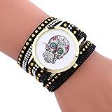 Hunpta Mode-Totenkopf-Muster Glockenspiel Leder Armband Dame Womans Armbanduhr (Schwarz)