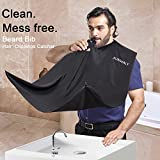 Sunwaly Beard Bib Apron for Men Shaving,Hair Clippings Catcher & Grooming Cape Apron Beard Catcher Non-Stick Hair,Waterproof,Adjustable Zipper,Beard Trimming Apron for Men's Gifts (Black) (4)