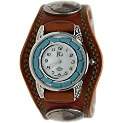 Kc,s Leather Craft Watch Bracelet Turquoise Movemnet 3 Concho Double Stitch Color Light Brown