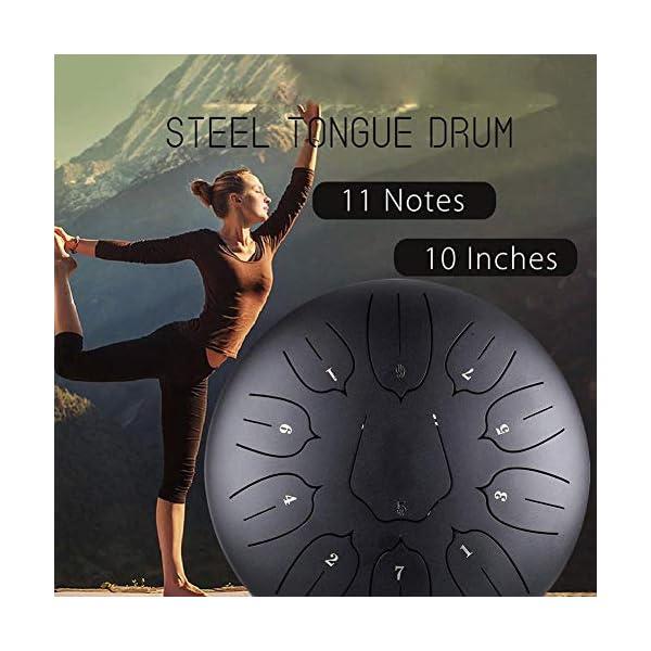 Besthuer Tambor Metálico de Lengüetas Acero Tambor de la Lengua Tongue Drum nstrumentos 10 Pulgadas con 11 Teclas de… 3