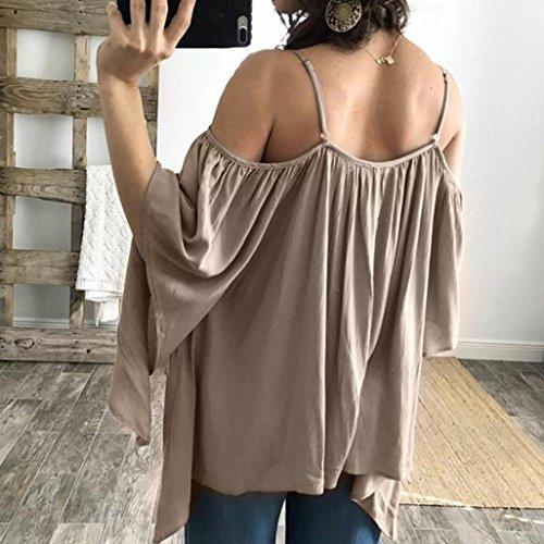 Bekleidung Longra Damen Schulterfrei Frühjahr Sommer Hemd verlieren lange Ärmel T Shirt Solid Schulter lässige Bluse Tops T Shirt Brown