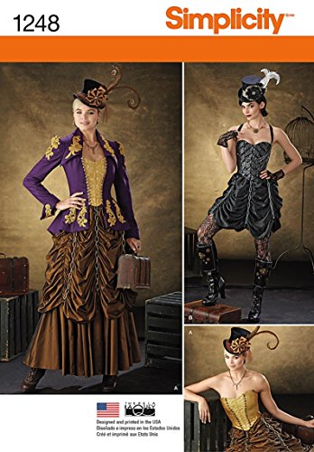 Simplicity 1248 Size R5 Misses Steampunk Costumes Sewing Pattern, Multi-Colour steampunk buy now online