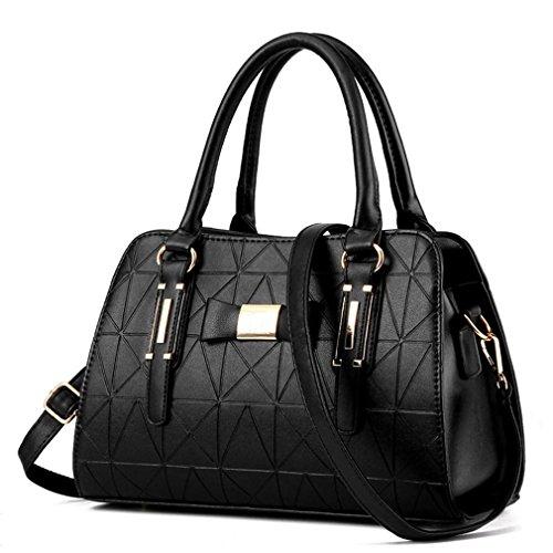 HQYSS Borse donna Le donne cuoio dell'unità di elaborazione di affari Tracolla Messenger leggero registrabile della borsa , silver black