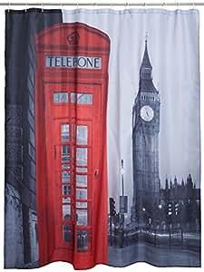 """Rideau de douche Big Ben et boîte de téléphone - Coloré """"London"""" 180 x 180 cm - Rideau de douche idée cadeau - Grinscard"""