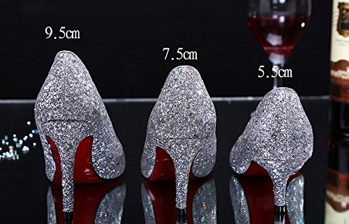 ALUK- Chaussures De Mariage - Fine Avec Pointed Shallow Bouche Sequined Mariage Chaussures Singles Chaussures ( couleur : 9.5cm , taille : 38 ) 7.5cm