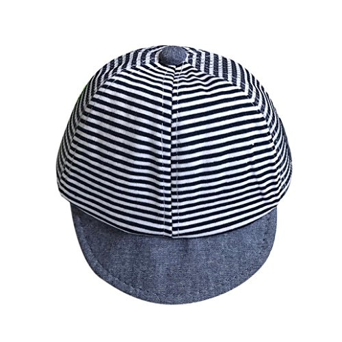 QinMM Sommer Hüte Nette Beiläufige Gestreifte Weiche Eaves Baseballmütze Baby Mädchen Sun Hat Beach Cap 1-6 Mt (Marine)
