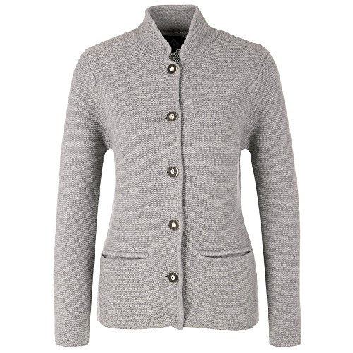 ALMBOCK Trachten Strickjacken für Damen | Damen Trachtenjacke mit Hirschhornoptik Knöpfen | Strickjacke Trachten grau - Trachtenjacke Gr. XL