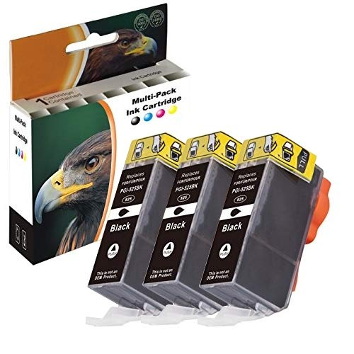 3x D&C Druckerpatrone BLACK kompatibel für Canon PGI-525 iP4800 iX6550 MG5100 MX710