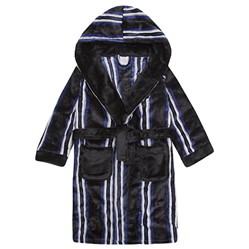 4 KIDZ 4Kidz Childrens Boys Striped Dressing Gown - Flannel Fleece Hooded Night Robe
