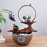 BEIQIHHY Kreative Keramik Luftbefeuchter Moderne Indoor Kleine Aquarium Fließendes Wasser Brunnen, für Den Garten Feng Shui Wasserspiel Wohnkultur,B