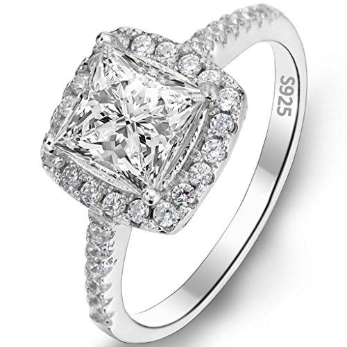EVER FAITH® Argento 925 classica principessa Cut .25 ct CZ anello di fidanzamento - anello (0.25 Ct Anello Di Fidanzamento Anello Di Fidanzamento)