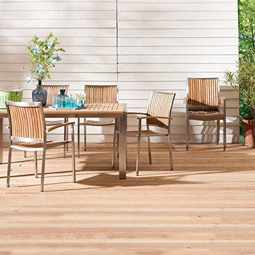 Gartentisch OUTLIV. Pasadena Gartentisch 160x90 cm Edelstahl/Teak Tisch Garten
