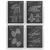 Guerra de las Galaxias Poster de Patente - Pack de 4 Láminas - Patent Póster Con Diseños Patentes Decoracion de Hogar Inventos Carteles Prints Wall Art Posters Regalos Para - Marco No Incluido