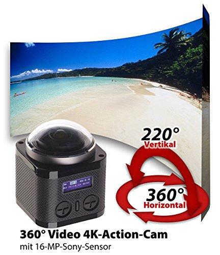 Somikon 360°-4K-Action-Cam, 16-MP-Sony-Sensor, 24 B./Sek., Fernbedienung, IP68 - 2
