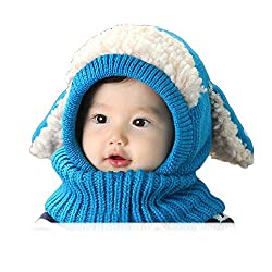 DELEY Unisex-baby Autumn Winter Woolen Cute Animal Dog Earflap Knitted Hat Cap Hooded Scarf Christmas Gift