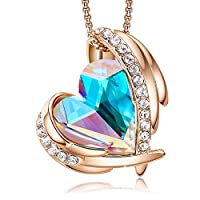 18K Rose Gold Heart Pendant Necklace for Women, Jewelry Gift Embellished with Crystals from Swarovski with Elegant Gift Box
