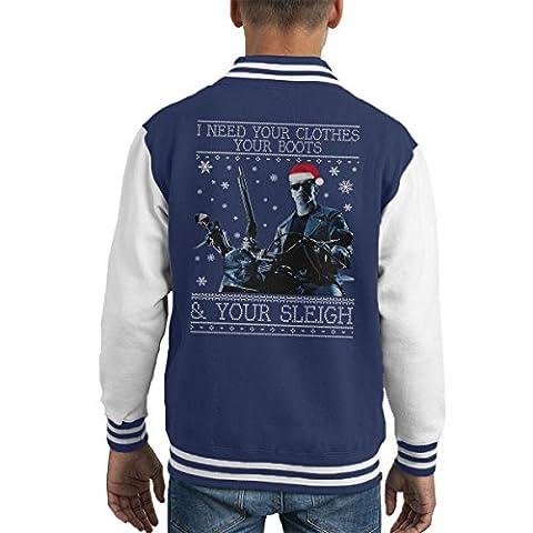 I Need Your Clothes Terminator Christmas Knit Kid's Varsity Jacket