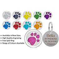 JK Personalised Engraved Round Glitter Paw Print Dog/Cat Pet ID Tag Small/Large (25mm - Standard, Pink)