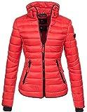 Marikoo Damen Jacke Steppjacke Übergangsjacke gesteppt mit Kordeln Frühjahr Camouflage B405 [B405-Lola-Rot-Gr.S]