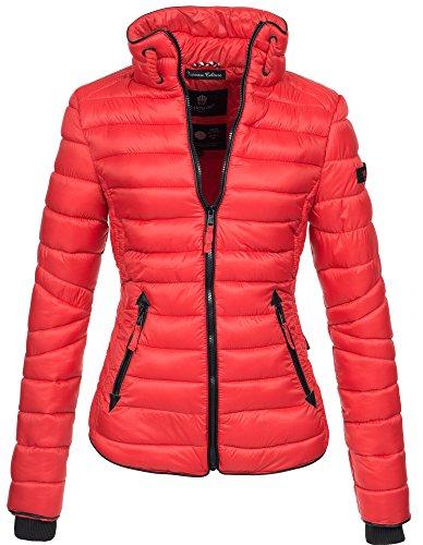 Marikoo Damen Jacke Steppjacke Übergangsjacke gesteppt mit Kordeln Frühjahr Camouflage B405 [B405-Lola-Rot-Gr.XL]