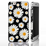 Daisy floral Cute Muster Fall für die iPhone Serie. Full Wrap Design Bezüge, plastik, Design 6: Daisies on Black, iPhone 5/5S/SE