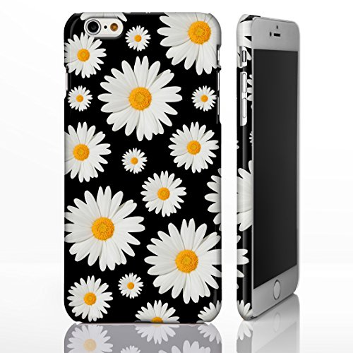 ster Muster Fall für die iPhone Serie. Full Wrap Design Bezüge, plastik, Design 6: Daisies on Black, iPhone 5/5S (Cute Iphone 4s Fall)