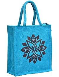 Blue Jute With Dark Blue Big Flower Printed With Blue Rope Handle Jute Burlap Lunch Tiffin Outdoor Handbag Bag...