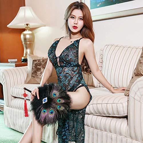 Fun-Unterwäsche Erotische Kostüme Für Damen Europäische Und Amerikanische Sexy Dessous Sexy Klassische Pfau Stickerei Spitze Slit Dress Pyjamas, Bildfarbe, Eine Größe (Klassische Damen Cheerleader Kostüme)