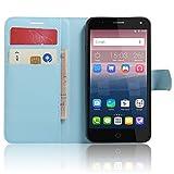Nadakin Flip Hülle für Alcatel One Touch Pop 4 Schutzhülle Zubehör Lederhülle Tasche Back Cover PU Leder Handytasche im Bookstyle Standfunktio Kartenfächer Folio Wallet Case (Blau)