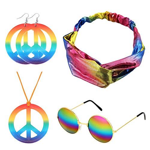Ztl Hippie Zubehör Set Hippie Sonnenbrille Peace Zeichen Halskette Peace Zeichen Ohrringe Regenbogen Criss Cross Elastic Stirnband - mehrfarbig - Einheitsgröße -