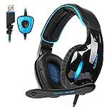 SADES SA902 USB Gaming Headset 7.1 Virtual Surround Stereo Sound über Ohr Kopfhörer Gaming Wired USB LED Licht mit Mic Lautstärkeregler für PC / Laptop (Schwarz & Blau)
