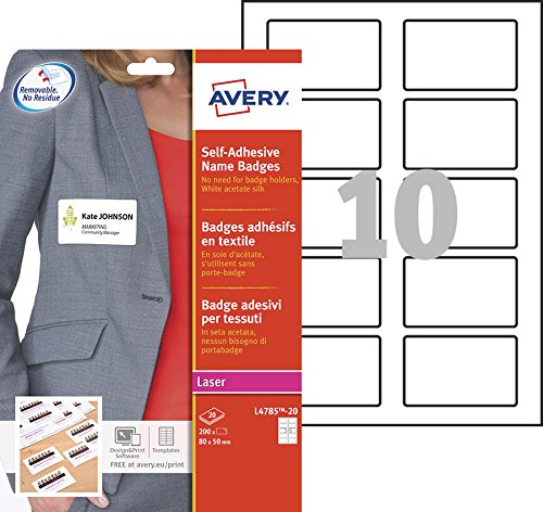 Avery L4785-20 Badge Adesivi, Stampanti Laser, 20 Fogli, 80 x 50, Bianco