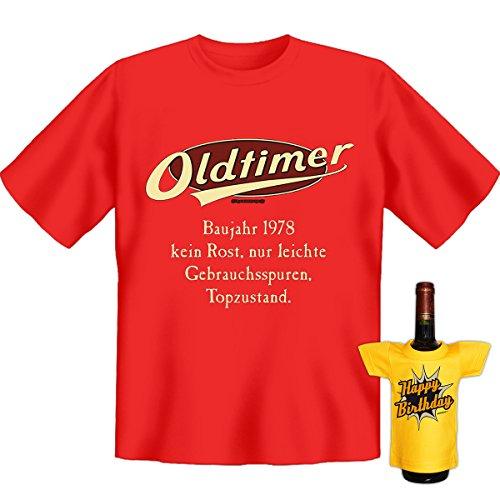 Geburtstags Set T-Shirt + Mini für die Flasche <->          Oldtimer Baujahr 1978          <->           ein kleines lustiges Geschenk Goodman Design®Rot Rot