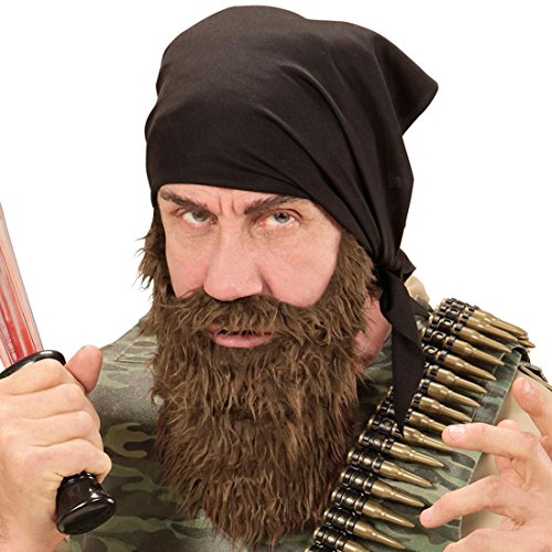 Herren Kostüm Outlaw - Amakando Outlaw Stirnband und Bart Biker Outfit mit Bandana Easy Rider Faschingsbart Vollbart mit Kopftuch Gangster Herren Kleidung Rocker Kostüm Set