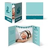 Geburtskarten (40 Stück) - Handabdrücke Türkis/Blau - Geburt Babykarten Junge Klappkarten