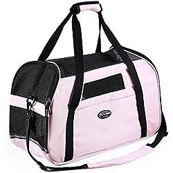 Portador del animal doméstico para los perros y los gatos transpirable que empaqueta el bolso de hombro suave del totalizador del recorrido para los animales domésticos(Rosa,mantenga mascotas pequeñas hasta 7libras)