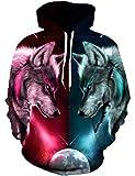 Goodstoworld Wolf Pullover Bunt 3D Hoodie Kapuzenpullover Sweatshirt Herren Damen Druck Langarm Kapuze Sweatjacke Tops