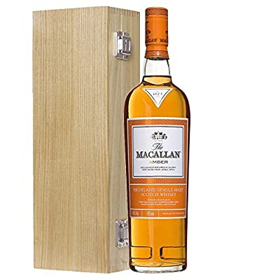 The Macallan 1824 Amber Single Malt Whisky 70cl Bottle in Luxury Solid Oak Gift Box with Hand Crafted Gifts2Drink Tag