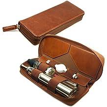 Tuff-Luv E-Cig Vape-Pen Box Mod Vintage Faux cas de Voyage en cuir de luxe Vape Pen & support de recharge - Brun