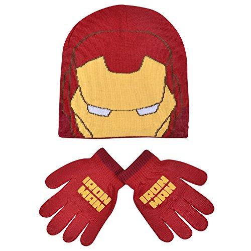 Boys-Marvel-Iron-Man-Childrens-Winter-Beanie-Hat-Gloves-Official-Set