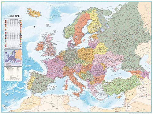 Close Up XXL Europakarte Poster mit Flaggen & zahlreichen Infos - Premium Weltkarte Plakat - 135 x 100 cm - Europa Reise-karte Von